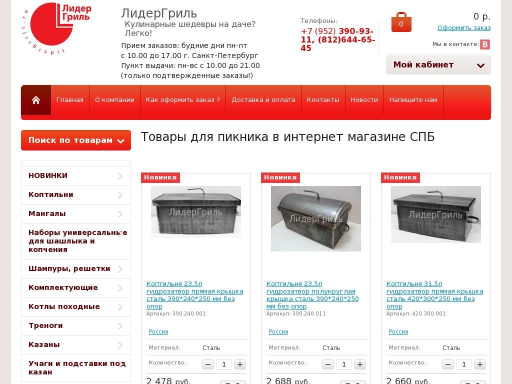 Скриншот интернет-магазина lidergrill.ru