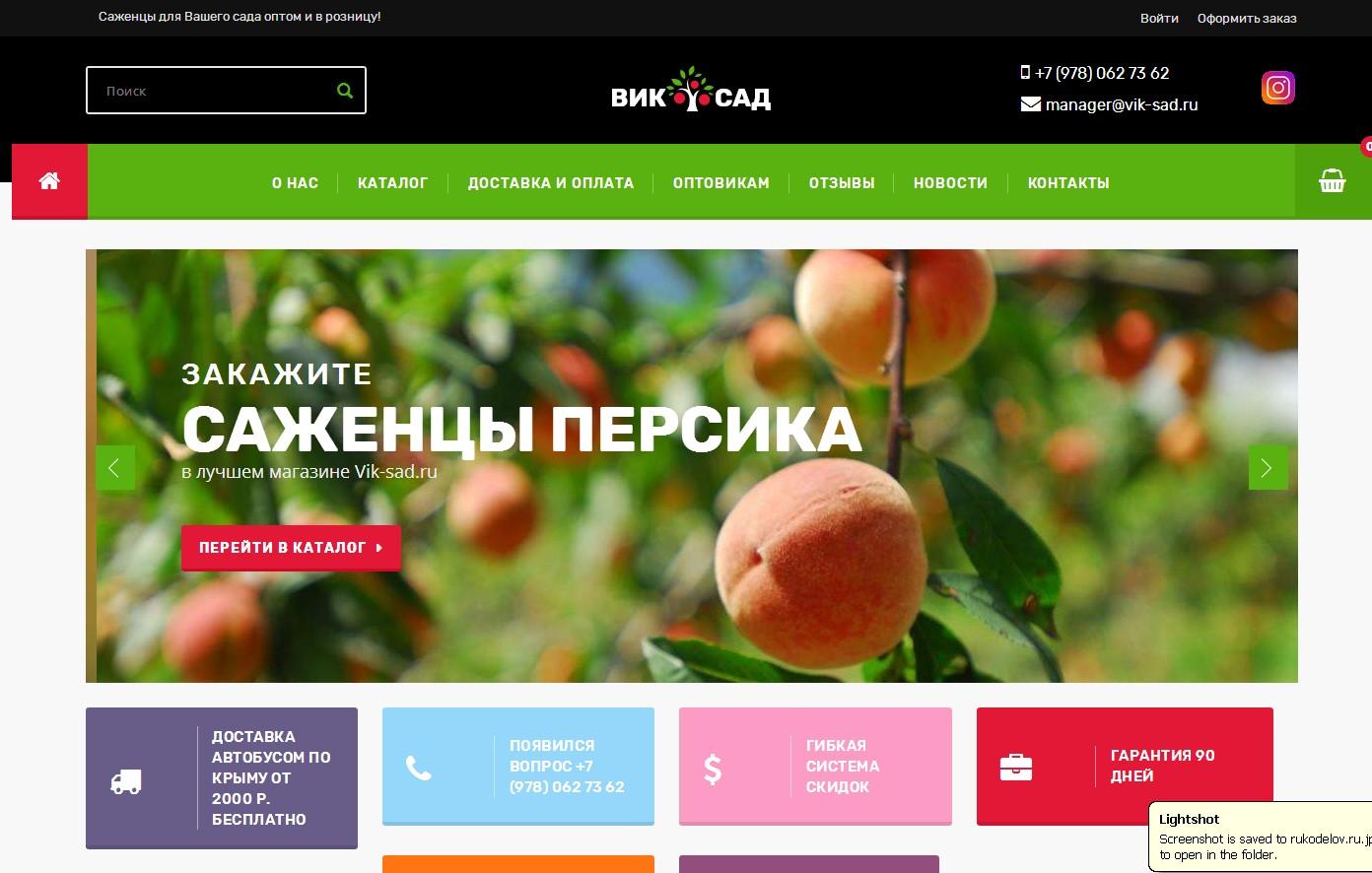 Скриншот интернет-магазина vik-sad.ru