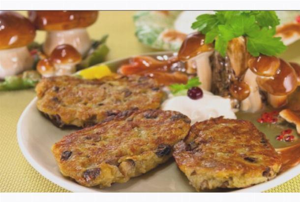 Драники с мясом и грибами