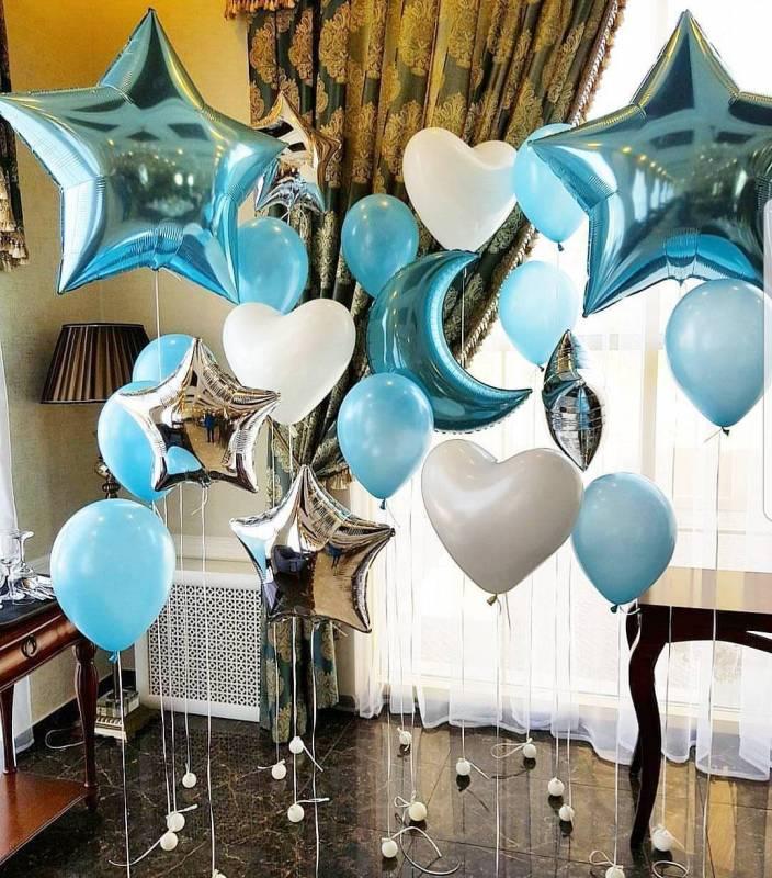 Фото зона из шаров на выписку для мальчика